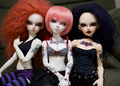 Group of Three (TeaPartyRevolution) Tags: fairyland minifee msd bjd balljointeddoll minifeelishe lishe bellonalua whiteskin rheia chloe aeracera elliot