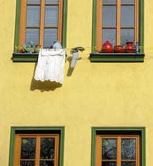 Sunny laundry weather (:Linda:) Tags: germany thuringia town jena window four laundry socks pottery laundryline funny