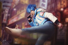 "Highness Cosplay as Aoba Seragaki - from Dramatical Murders - by SpirosK photography: the ""red"" (action) portraits (SpirosK photography) Tags: highnesscosplay aobaseragaki dramaticalmurder spiroskphotography white portrait crossplay studio red action fighting kicking running composite rule63"