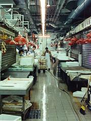 Slippery (extra wasabi) Tags: nikonf2 nikkor50mm cinestill800 hongkong streetmarket streetsofhk caution wet floors