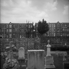 (patrickjoust) Tags: 6x6 medium format 120 black white bw home develop film expired discontinued blancetnoir blancoynegro schwarzundweiss tlr twin lens reflex manual focus analog mechanical patrick joust patrickjoust baltimore maryland md usa us united states north america estados unidos urban street city row house greenmount cemetery avenue vacant empty abandoned tombstone tomb grave cross marker stone wall