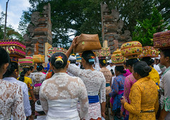 A traditional hindu temple festival procession in Tirta Empul temple, Bali island, Tampaksiring, Indonesia (Eric Lafforgue) Tags: adultsonly asia asian bali bali1899 balinese baskets carry carrying celebration ceremony clothing colorful culture day event festival festivity flowers fruits gifts groupofpeople hindu hinduism horizontal indonesia indonesian offerings outdoors parade parasols pilgrimage procession rearview religion religious ritualofferings sacred spiritual spirituality tampaksiring tirtaempul tradition traditional umbrella walking women baliisland