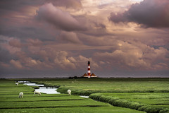 Westerhever (louhma) Tags: westerhever leuchtturm nf fluss schafe wiese grün wolken wolkig sonnenuntergang sunset lighthouse sheeps nikon d750 clouds deutschland nordsee outside weather outdoor natur nature