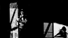 Service with a Smile (alhawley) Tags: american bw usa blackandwhite candid everytownusa fujiraw fujifilmx100f highcontrast lowkey monochrome photoessay street streetphotography surreal
