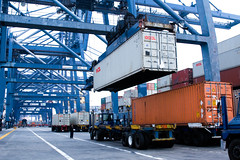 International harbor atmosphere (CIFOR) Tags: furniture ships truck port shippingcontainer indonesia java container imagecolorstyleformat tanjungpriok horizontals globalwarming harbor exports watertransportation cifor trade jakarta horizontal valuechainforest transportation harbors ship transport watercraft kotajakartautara dkijakarta id