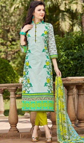 White Color Shaded Cotton Printed Pant Style Suit