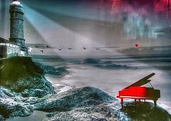 * Una musica dal mare  +  A music from the sea  * (argia world 1) Tags: collage mare sea rocce rocks pianoforte piano faro sealighthouse luce light cielo sky colori colours