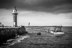 Whitby East Breakwater Lighthouse & Pier (I'mDKB) Tags: imdkb whitby lightroom5 lr5 lighthouse northyorkshire northsea nikon nikond80 blackandwhite blackwhite bw monochrome mono eastbreakwater pier jetty march 2009 1855mm 1855mmf3556