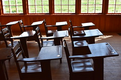 School desks (thomasgorman1) Tags: school museum historical ukrainian classroom light windows desks canada alberta pioneers nikon empty nostalgia old wood