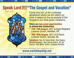 Register for the Conference here - full programs for both locations are available at this link also. https://cwfellowship.net/2017-speak-lord-conference-gospel-vocation-registration/
