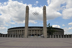 "The Olympic stadium in Berlin, the home arena of the football club ""Hertha"" and the German national team (iliya.hazan) Tags: berlin germany europe city olympic rings stadium arena football club hertha national team sport game sky"