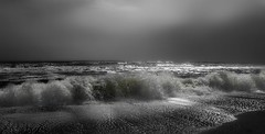 A Breaking Wave (showell5001) Tags: floridabeaches breakingwaves waves sky beach sand whitecaps outdoors nature travel historicalcity saint saintaugustinebeach beauty bwphotography monochrome canon photography light white