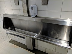 Peeing in a trough #urinals #amsterdam (leewrogers) Tags: amsterdam urinals