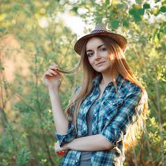 IMG_7718-4_flickr (Serge Zap) Tags: natural lifestyle light sunlight summer girl woman canon caucasian 5dmark2 5d2 5d portrait outdoors plaid happy hat foliage