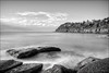 Sea of tranquillity (JustAddVignette) Tags: whalebeach algae australia blackandwhite clouds dawn early headland landscapes longexposure monochrome newsouthwales northernbeaches ocean reflections rocks seascape seawater sky sunrise sydney water waves