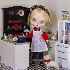 on borscht making day... (JennWrenn) Tags: blythe doll custom matryoshkamaiden rement kitchen cooking onthestove russian soup borscht messy apron magda