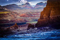 cathedral valley - lake or blue sand (2d vs 3d) Tags: capitolreef