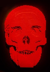 Red Skull from Skulls by Lego artist Nathan Sawaya (mharrsch) Tags: skull red lego sculpture art nathansawaya artofthebrick exhibit omsi oregonmuseumscienceandindustry oregon mharrsch