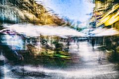 Poétique implicite du départ (Fabrice Le Coq) Tags: lagenais silouhète street rue ville couleur bougé ciel piéton