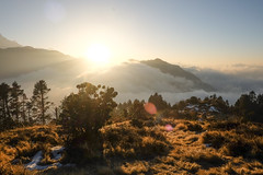 Poon Hill Sunrise (munjean) Tags: trekking hiking nepal poonhill mountins sunrise sun rays golden clouds morning annapurnabasecamp
