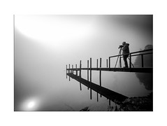Man and the Mist - Explore 05.06.2017 - No. 23 (muddybootsuk) Tags: derwentwater lakes reflections mist cloudinversion hawseend jetty water sun morning early bradeide cumbria lakedistrict england north greatbritain canon 600d sigma1020 unitedkingdom