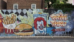 McDonald's Drive Thru Mural by Tats Cru, Allerton, Bronx, New York City (jag9889) Tags: 2017 20170614 allamericacity allerton bg183 bio bronx clown drivethru eastbronx fence fries graffiti graffitiartist how hamburger mcdonalds mural muralist nosm ny nyc newyork newyorkcity nicer outdoor painting ronald streetart tagging tatscru thebronx themuralkings usa unitedstates unitedstatesofamerica whiteplainsroad jag9889