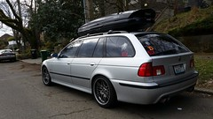 E39 swag'n (ljorg1) Tags: vacation luggage e39 wagon estate touring 46is 540 540i 540ia 546it 540it bmw seattle washington tree road parked decal sticker advertising soccercamping