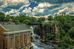 Storm Approaching The Paterson Falls (vodophoto's images) Tags: hdr landscape seascape waterfall bridge warehouse newjersey paterson urban cliff rocks water clouds photography mirrorless olympus