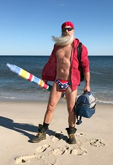 Redneck Beach (Cowboy Tommy) Tags: beach fireisland thepines cherrygrove rebel bikini legs crotch bulge package boots workboots unzipped hairy hanky muscle muscles sex sexy hot rugged manly sixpack beard blowing