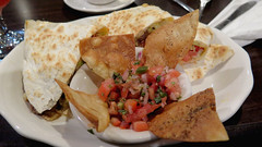 Steak quesadilla with pico de gallo (Coyoty) Tags: townlinediner rockyhill connecticut ct diner restaurant food bokeh white brown crust red steak quesadilla picodegallo tortilla chips tortillachips salsa tomato cincodemayo meat spicy cheese holiday