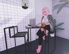 Pink Lady (Bambi Joyce) Tags: sl second life fashion photography photoshop ootd lotd pink rama eckle randommatter coco lamb empire candydoll teefy cafe coffee virtual girls