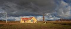 Morning's Burden (Peter Kurdulija) Tags: geo:lat=4513167998 geo:lon=17009651184 geotagged newzealand nzl ranfurly otago new zealand central barn old farm farmhouse rural countryside storm black white cloud morning sun wide panorama tree landscape kurdulija