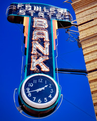 Time to Cash In! (Pete Zarria) Tags: colorado bank maney cash neon sign clock time save small town city