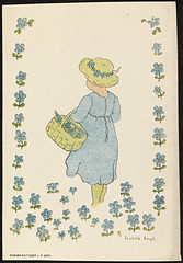 Sommermotiv av Lisbeth Bergh / Summer by Lisbeth Bergh (National Library of Norway) Tags: nasjonalbiblioteket nationallibraryofnorway postkort postcards lisbethbergh kunstnerkort barn children blomster flowers sommer summer
