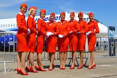 Russian Dolls... (Manuel Negrerie) Tags: stewardess russia girl woman stockings uniform aeroflot beauty airline air crew photo airshow su east