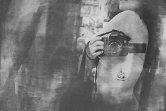 Experimental (MonttCarver) Tags: bnw black white photo booth canada myself experimental experimento photobooth textures experiment mont carver montcarver girl nude selfie canon tattoo tattooed tatuajes chica mujer joven desnudo piel skin mirror painting photograph