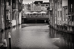 Square On A Bridge B&W (Alfred Grupstra) Tags: canal architecture bridgemanmadestructure river urbanscene europe water cityscape famousplace street city house travel old history buildingexterior tourism outdoors dordrecht