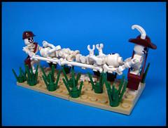 Field Bonebulance (Karf Oohlu) Tags: lego moc minifig skeleton medic stretcher vignette