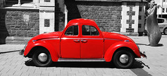 Beetle. Way to go. (Thor Hilmarsson) Tags: gimp digital colors nikon photo wizardofnewzealand newzealand wizard wv beetle red d80 nikond80 front back coming going drive bw blackandwhite selective christchurch cathedral