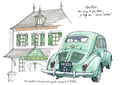à Gouzon (gerard michel) Tags: france creuse hôtel renault quatrechevaux croquis sketch auto ancêtre