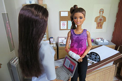 10. Sinking In (Foxy Belle) Tags: barbie made move fashionistas 62 kira mold athlete injury medical hospital doctor littlechap doctors office doll brunette side ponytail petite rebody