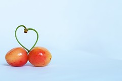 One... (Maria Godfrida) Tags: fruit cherries cherry food heart two soul love couple pair closeup minimalism tamron red sweet nature natural tasty garden orange colours colors summer