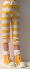 Sunshine Yellow and White Stripes Leggings...For Blythe...