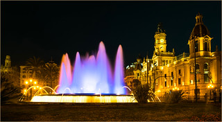 Night in Valencia (plaza del Ayuntamiento, City Hall)