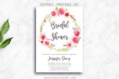 Printable Bridal Shower - Rose Wreath (Amistyle Digital Art) Tags: watercolor wedding stationery invitation invite bridal bride flower floral bigday happy love