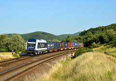 "761.006-6 (""SAPPHIRE"") Tags: outdoor hill landscape rail road railroad locomotive mašina vlak train 7610066 761006 metrans herkules hercules er 20 diesel nex 51790 slovakia vehicle freight intermodal"