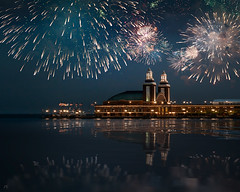 FOURTH (Nenad Spasojevic) Tags: fromthelake citylights navypier vantagepoint pointofview cityscape lakemichigan chi 4thofjuly skyline celebration nenadspasojevic city fourth fireworks lake lakeview 4th 2017 exploration sonyusa independenceday reflection perspective sonyalpha chicago boat water nenadspasojevicart illinois il usa