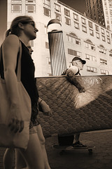 Busy New Yorkers (Mattress on Skateboard) (sjnnyny) Tags: unionsquareeast busynewyorkers streetscene skateboard shoppers nyc manhattanstreets shopper stevenj sjnnyny pentaxkp smcpentaxda1650mmf28edalifsdm people candid