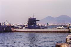 Submarine and Vesuvius (Yer Photo Xpression) Tags: ronmayhew navy submarine film 35mm naples italy vesuvius minolta