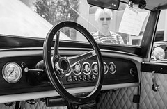 Looking To Drive A Classic Car (John Kocijanski) Tags: car automobile auto blackandwhite people bokeh steeringwheel interior canon24105mmf4l hbw streetphotography streetcandid vehicle canon5dmkii